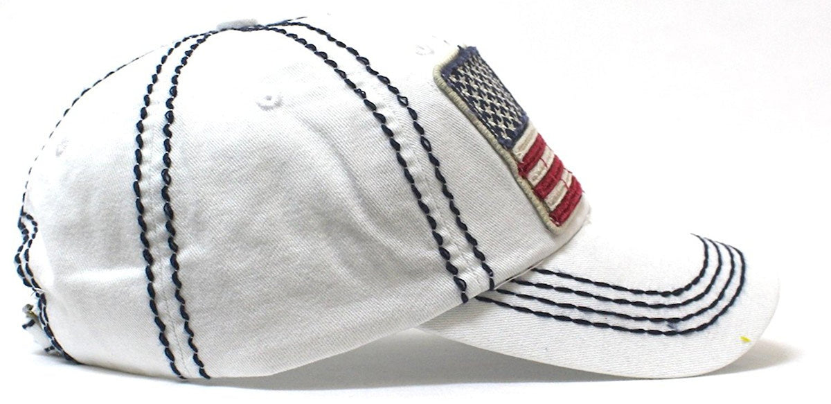 New! White Oversized USA Flag Patch Embroidery Ballcap - Caps 'N Vintage