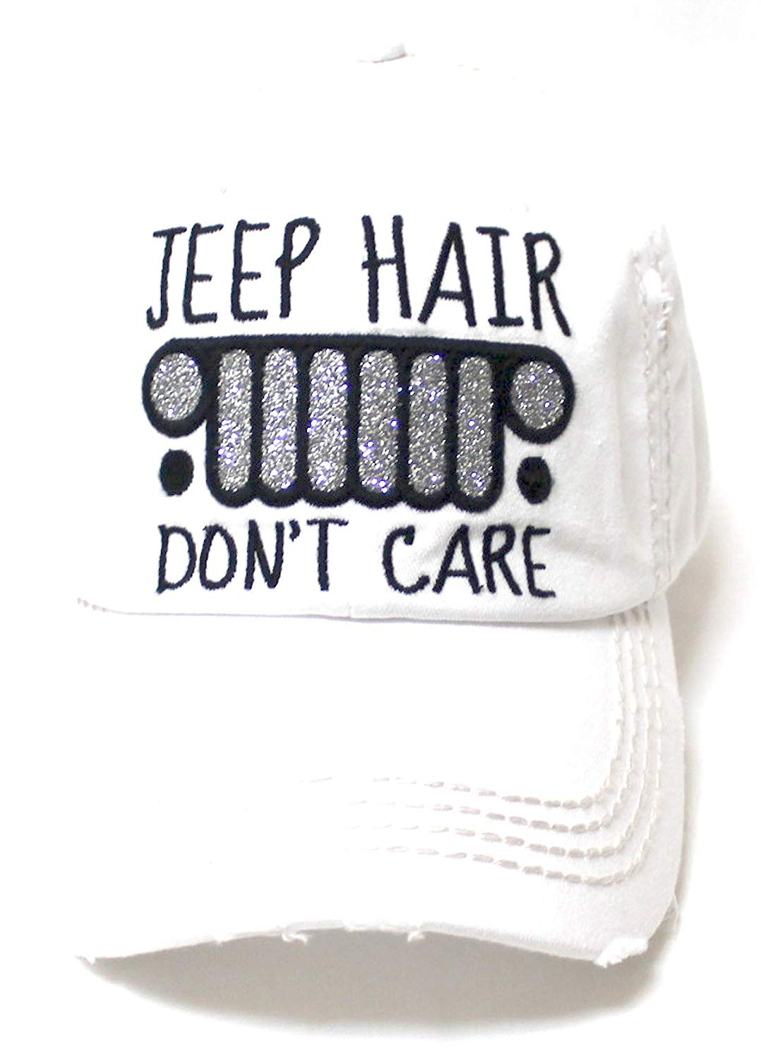 Women's Ballcap Jeep Hair Don't Care Glitter Monogram Vintage Hat, Titanium White - Caps 'N Vintage