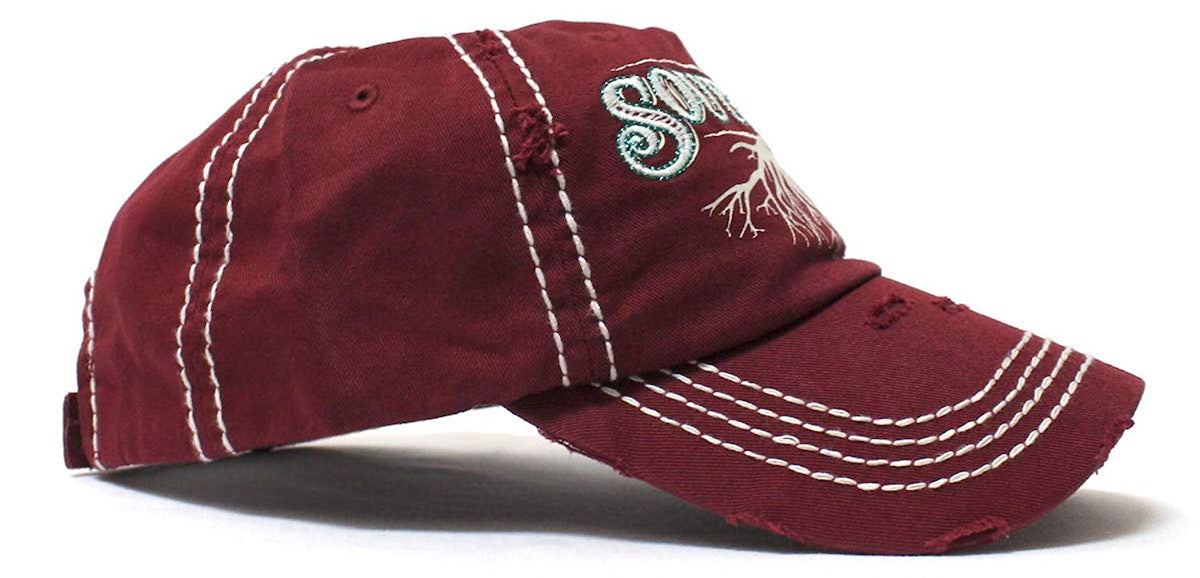 Wine Burgundy Southern Roots Sparkle Monogram Cap - Caps 'N Vintage