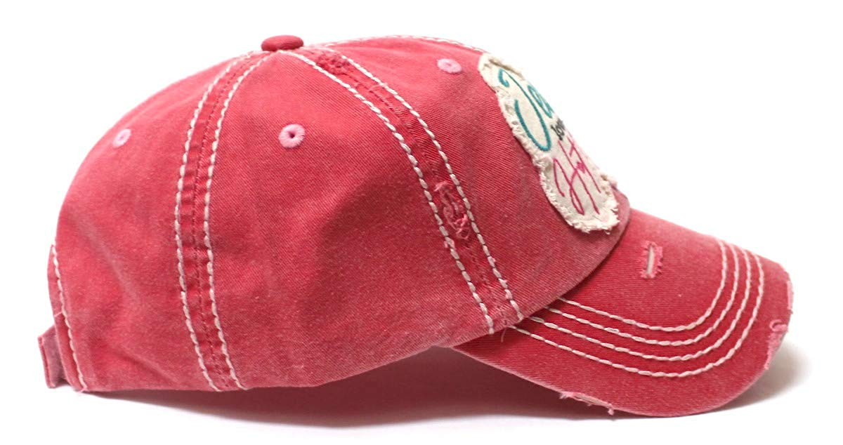 Women's Baseball Cap Jesus Loves This Hot Mess Heart Patch Embroidery Hat, Rose Pink - Caps 'N Vintage