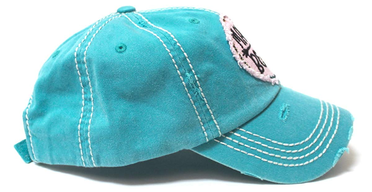 Women's Camping Cap Tribal Bohemian Mama Bear Patch Embroidery Hat, Turquoise - Caps 'N Vintage