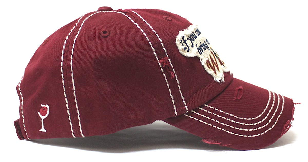 CAPS 'N VINTAGE Women's Ballcap Bring Me Some Wine Patch Embroidery Hat, Ruby Burgundy - Caps 'N Vintage