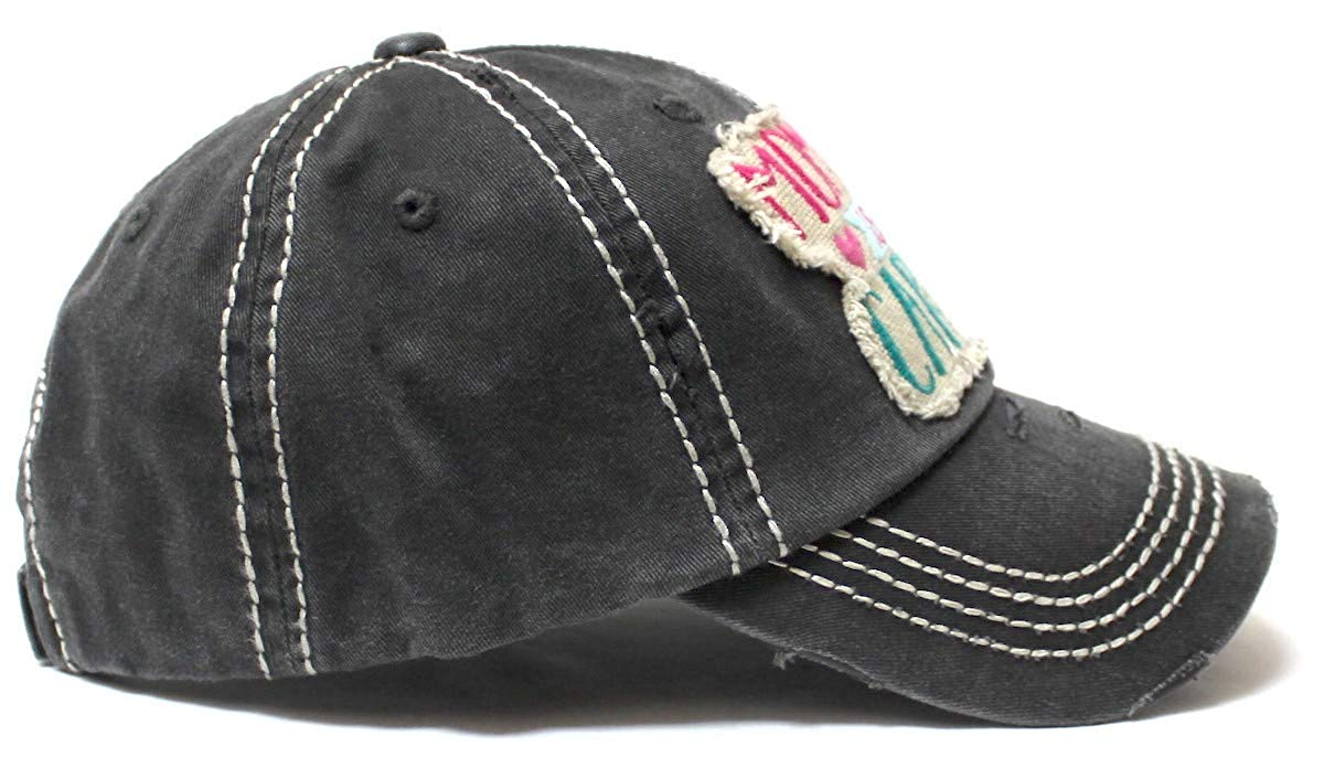 Women's Ballcap Mommin' is My Cardio Distressed Vintage Unconstructed Embroidered Hat, Black - Caps 'N Vintage