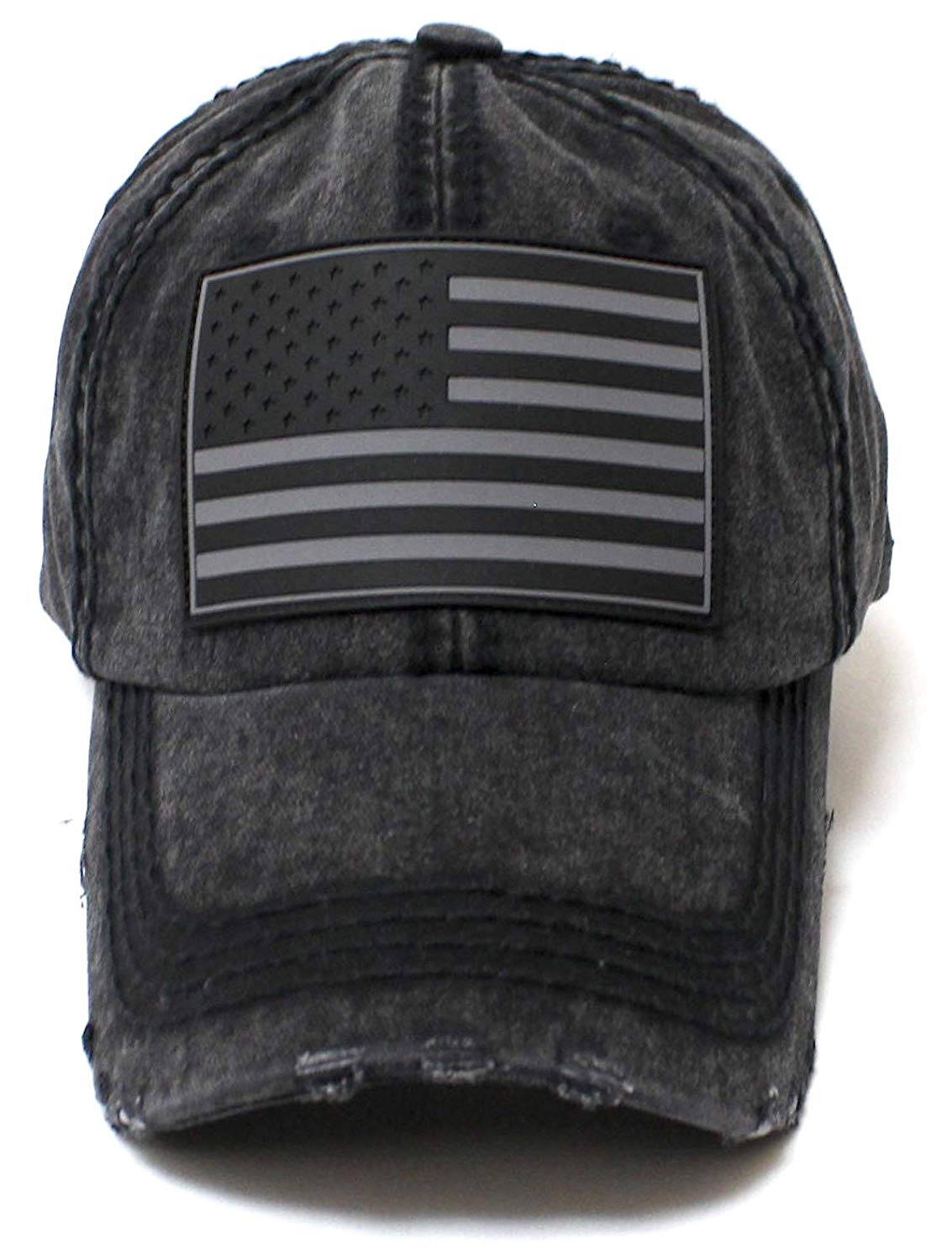 Black on Black American Flag Adjustable Baseball Hat - Caps 'N Vintage