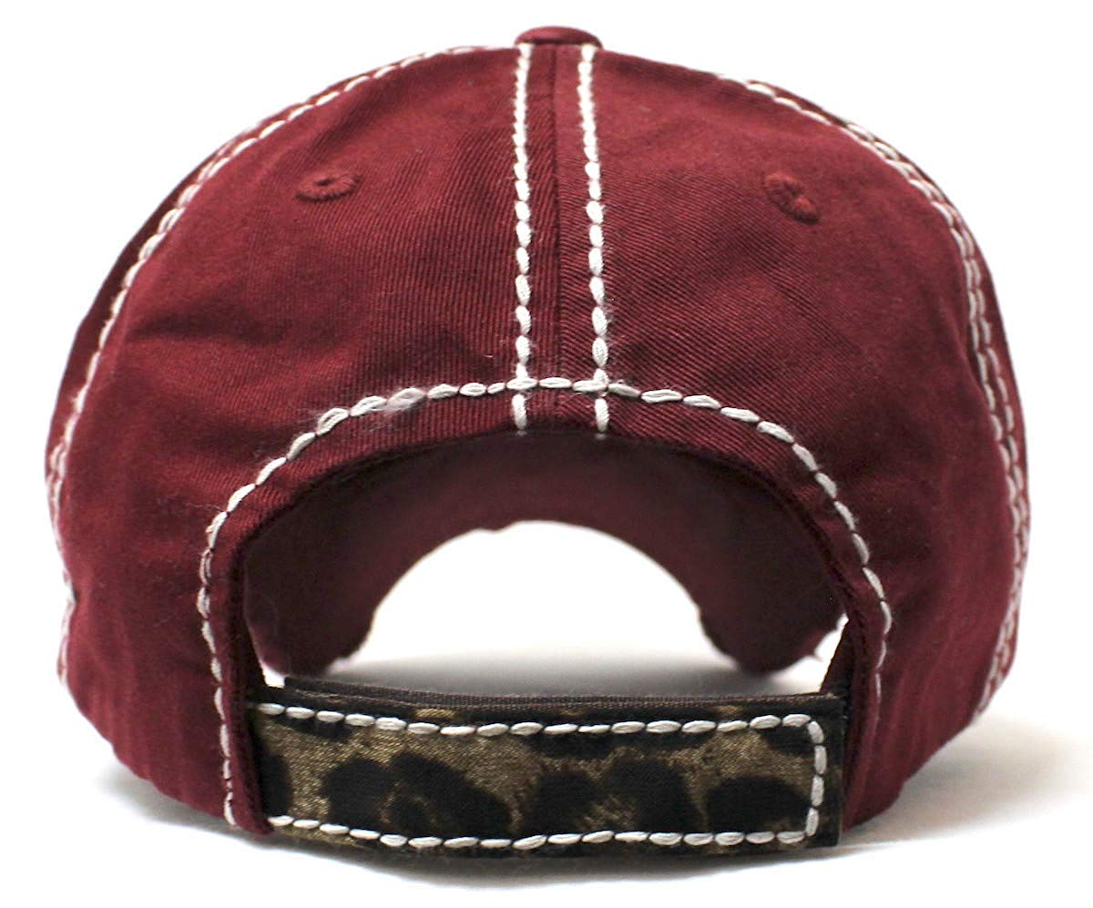 CAPS 'N VINTAGE Burgundy Lord Have Mercy Leopard Baseball Hat - Caps 'N Vintage
