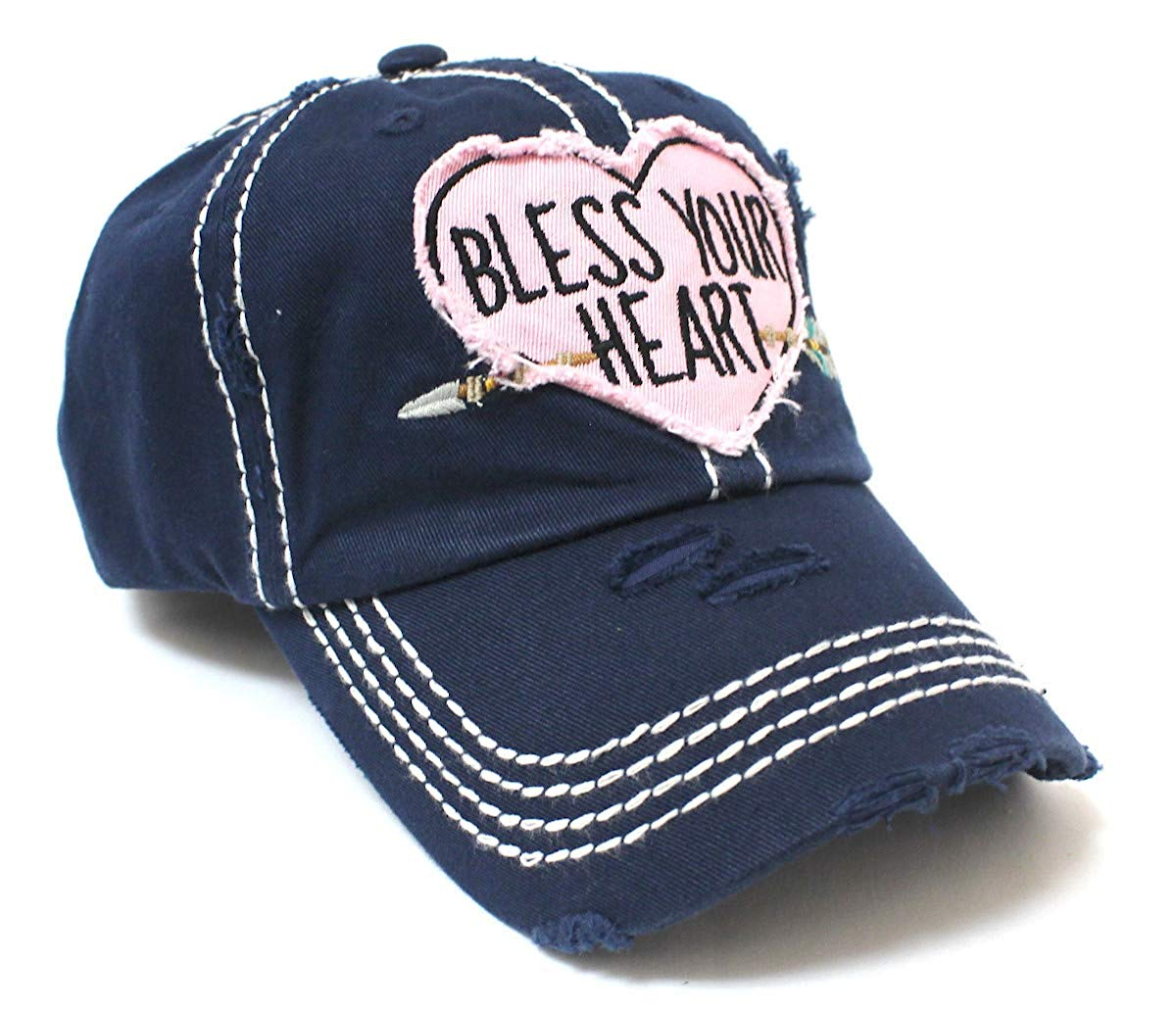 New!! Navy Bless Your Heart Heart & Arrow Vintage Hat - Caps 'N Vintage