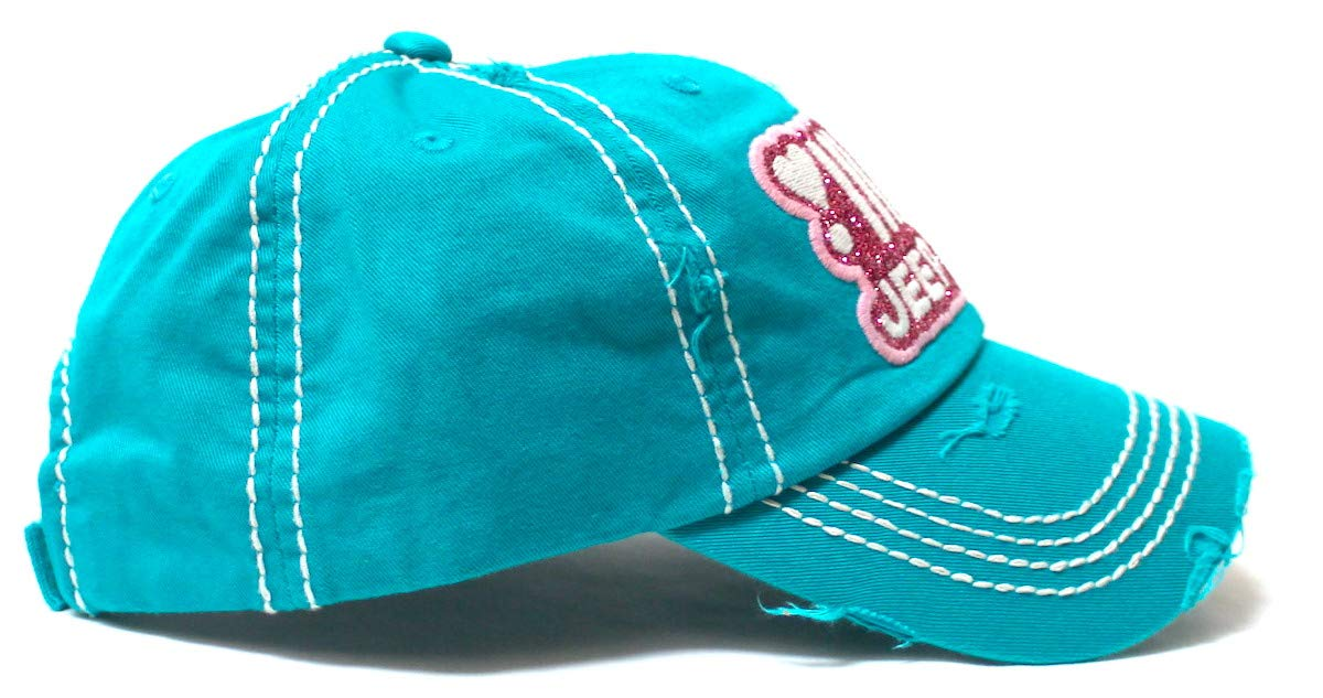 Women's Ballcap Jeep Girl Glitter, Hearts Monogram Patch Embroidery Adjustable Hat, California Blue - Caps 'N Vintage