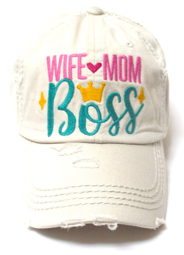 Women's Ballcap Wife Mom Boss Queen Crown Embroidery Hat, Stone - Caps 'N Vintage