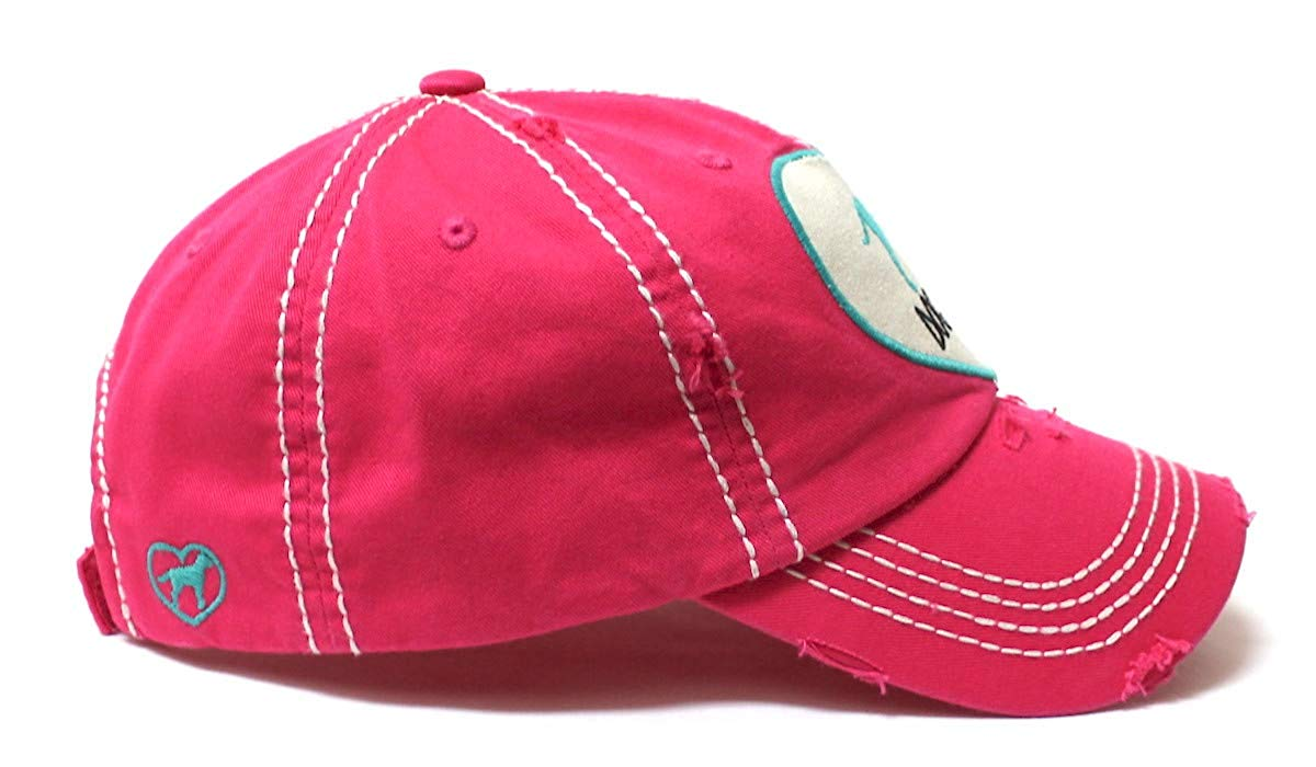 Women's Love Pink Cap Dog MOM Heart Patch Embroidery, Pink - Caps 'N Vintage