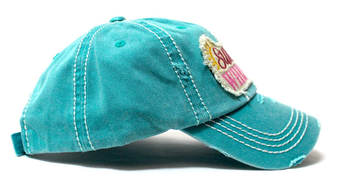 Women's Beach Hat Sunshine Fun Patch Embroidery Monogram Ballcap, Ocean Turquoise - Caps 'N Vintage