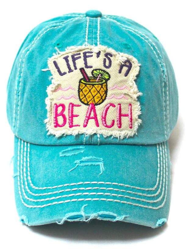 Women's Distressed Summer Cap Life's a Beach Aloha Pineapple Spirit Patch Embroidery Monogram Hat, Ocean Blue - Caps 'N Vintage