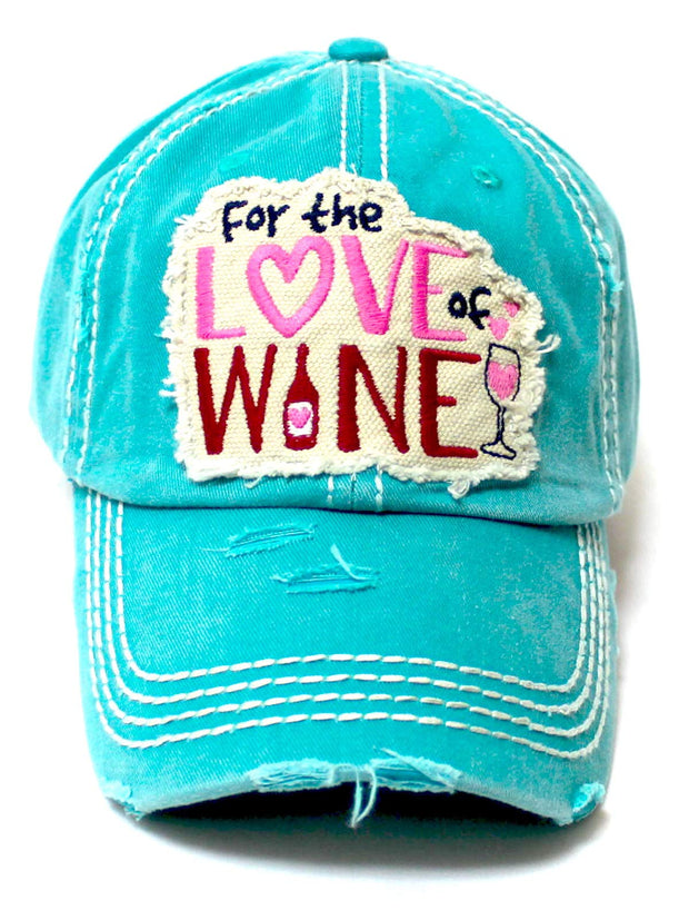 Women's Baseball Cap for The Love of Wine Patch Embroidery Hearts & Bubbles Monogram Hat, California Blue - Caps 'N Vintage