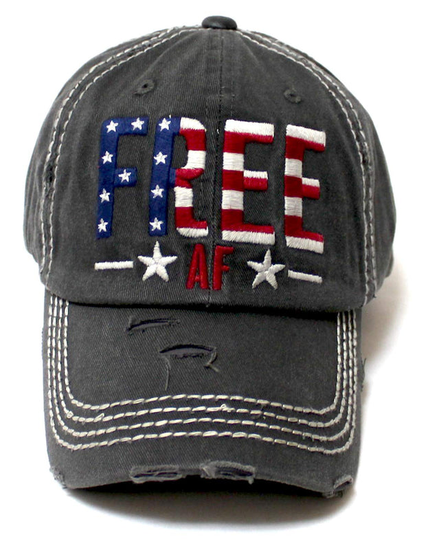 Women's Baseball Cap Stars Stripes Free AF American Flag Monogram Hat, Vintage Black - Caps 'N Vintage
