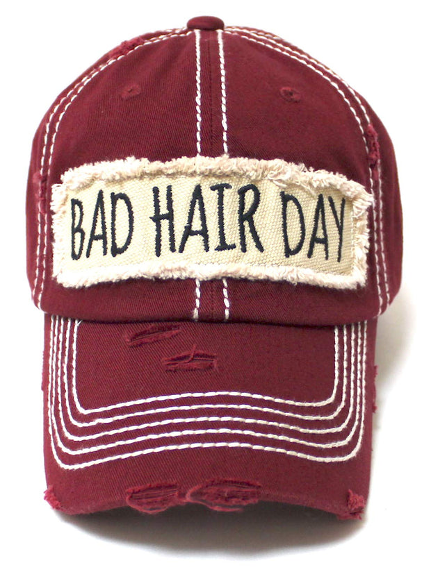 Women's Hat Bad Hair Day Embroidery Patch on Distressed Cap, Vintage Cabernet - Caps 'N Vintage