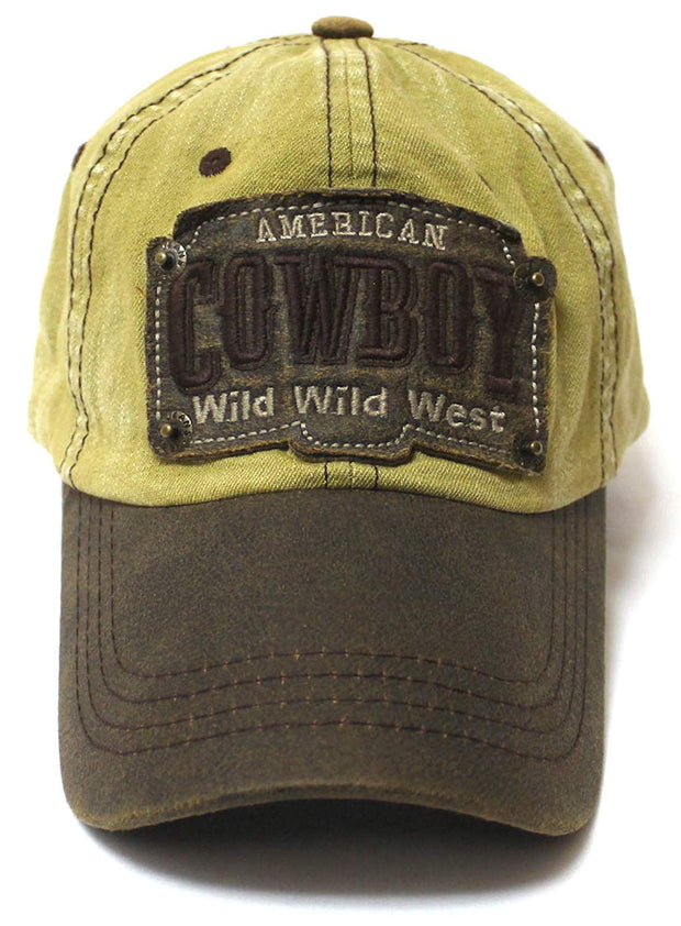 Classic Ballcap American Cowboy Wild Wild West Patch Embroidery Vintage Hat, Raw Tan - Caps 'N Vintage