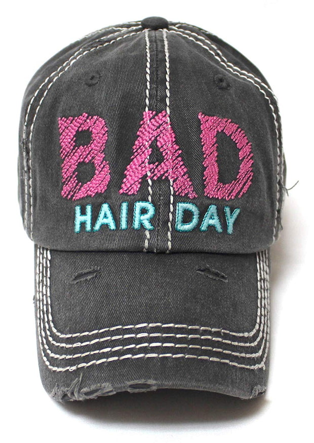 CAPS 'N VINTAGE Bad Hair Day Stitch Embroidery Distressed Baseball Hat, Charcoal Black - Caps 'N Vintage