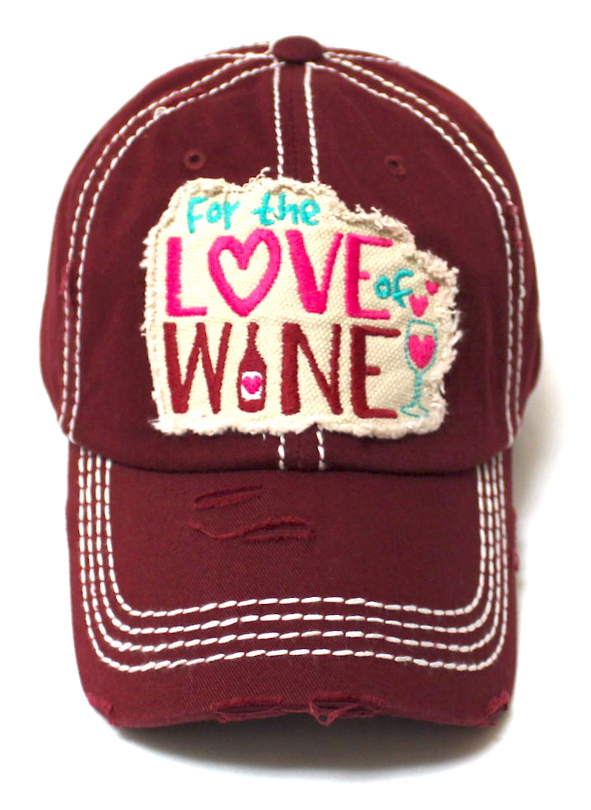 Women's Baseball Cap for The Love of Wine Patch Embroidery Hearts & Bubbles Monogram Hat, Vintage Burgundy - Caps 'N Vintage