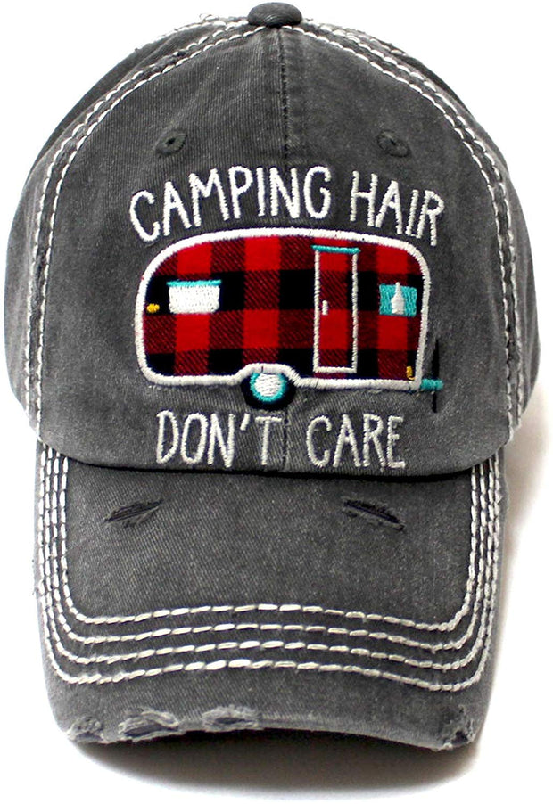 Camping Hair Don't Care Distressed Ballcap, Buffalo Plaid Patterned Truck Embroidery Adjustable Hat, Vintage Black