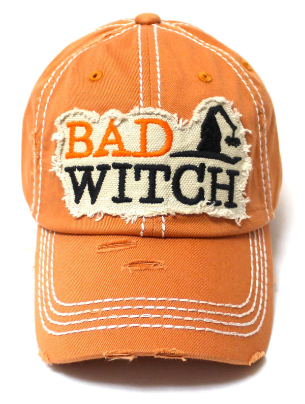Women's Vintage Baseball Cap Bad Witch Halloween Spirit Patch Embroidery Hat, Pumpkin Spice Latte