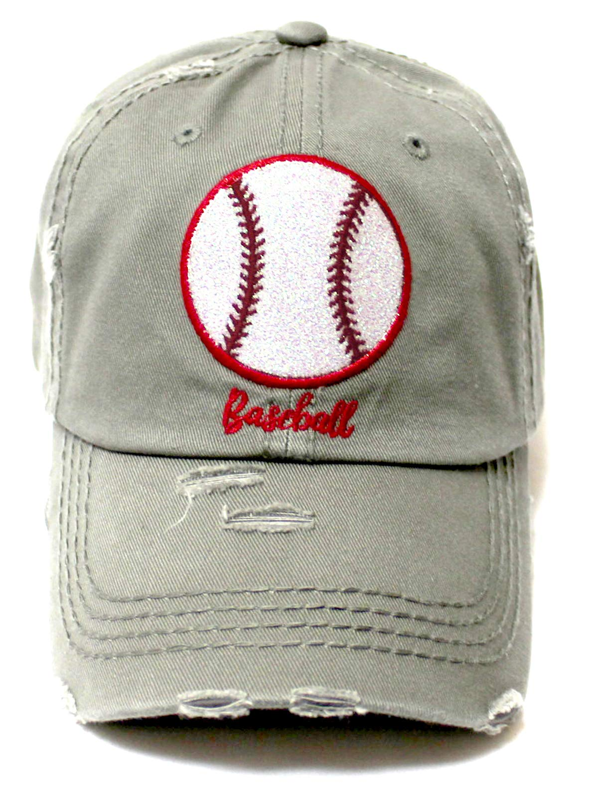 Distressed Baseball Hat Sparkle Ball Embroidery Baseball Monogram Vintage Hat, Moss Grey - Caps 'N Vintage