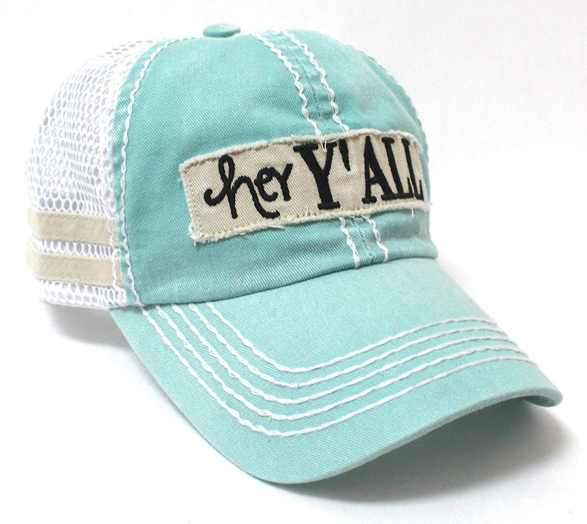 CAPS 'N VINTAGE Fiji Mint Blue Hey Y'all Trucker Hat - Caps 'N Vintage