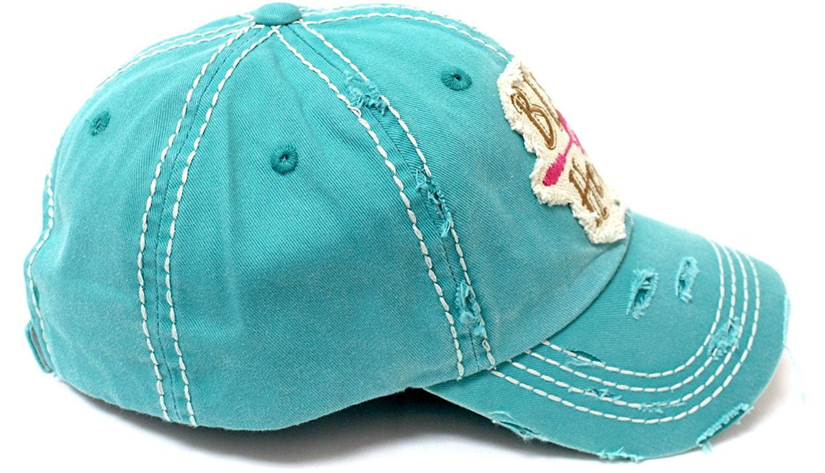 CAPS 'N VINTAGE New!! Women's Bless Your Heart Vintage Embroidery Baseball Hat-Turquoise - Caps 'N Vintage