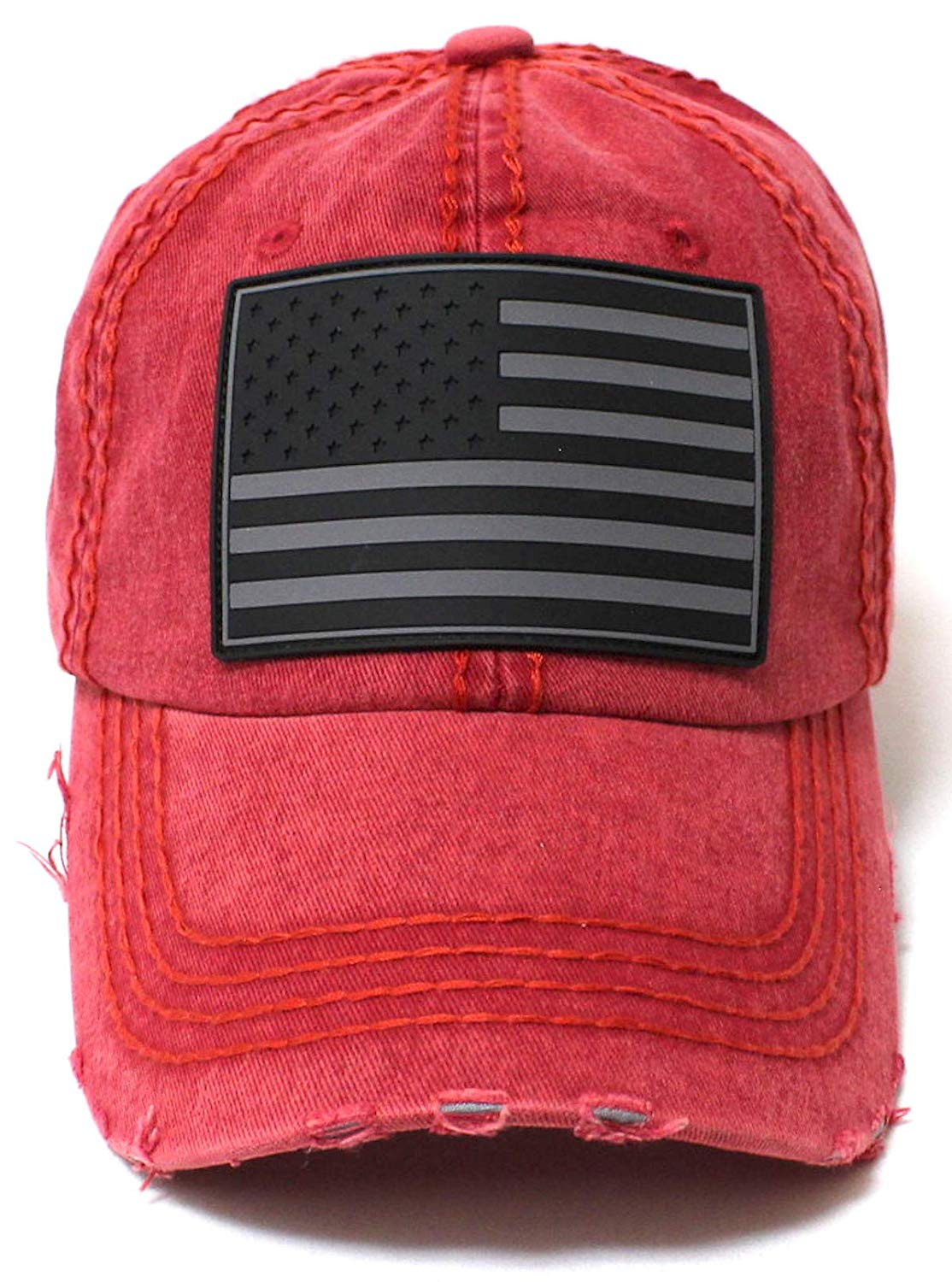CAPS 'N VINTAGE Washed Red/Black American Flag Adjustable Baseball Hat - Caps 'N Vintage