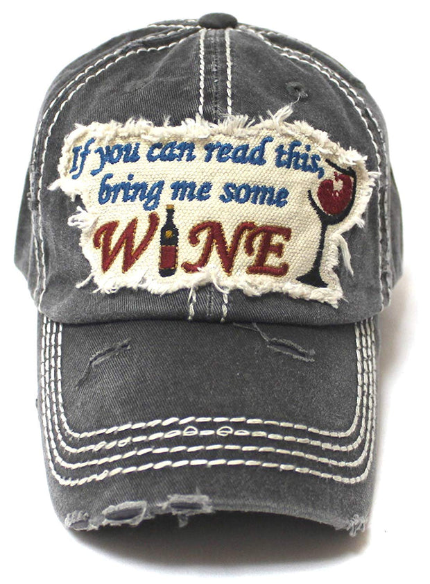 Women's Ballcap Bring Me Some Wine Patch Embroidery Hat, Vintage Black - Caps 'N Vintage