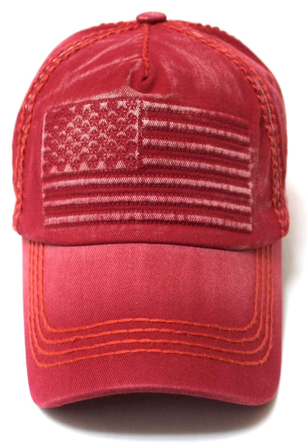 Classic Low Profile USA Flag Embroidery Ball Cap, Washed Vintage Red - Caps 'N Vintage