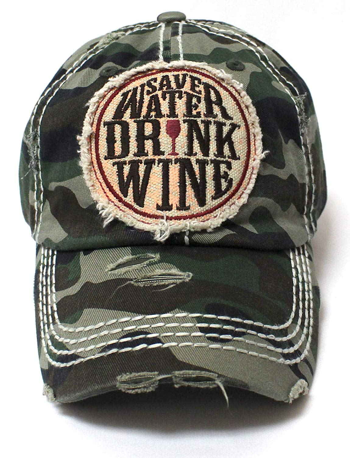 CAPS 'N VINTAGE Women's Patch Embroidery Baseball Cap Save Water Drink Wine - Caps 'N Vintage