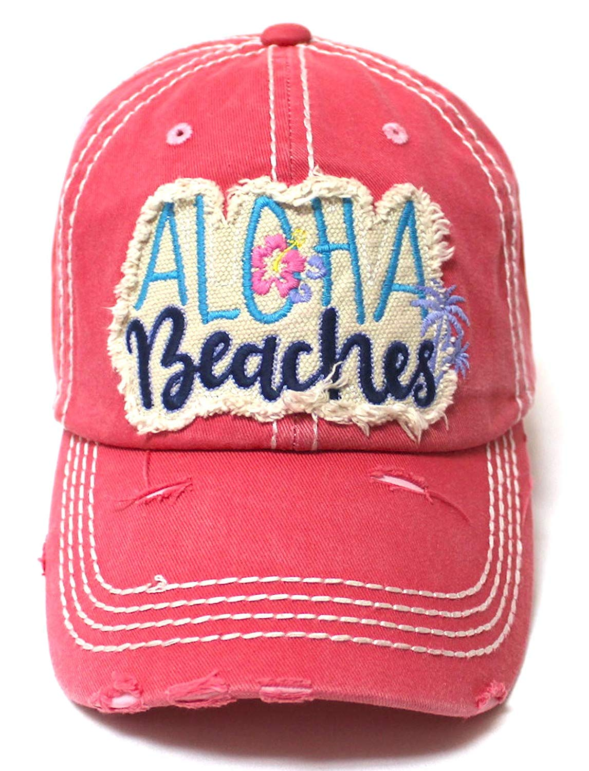 Aloha Beaches Patch Embroidery Distressed Baseball Hat, Coral Rose - Caps 'N Vintage