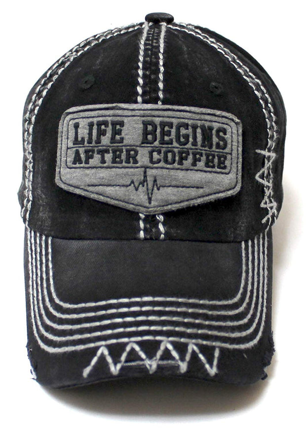 Classic Varsity Ball Cap Life Begins After Coffee Patch Embroidery Hat, Vintage Black - Caps 'N Vintage