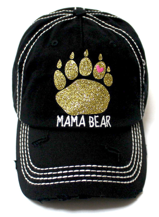 Women's Graphic Ballcap Mama Bear Gold Glitter Paw Print Heart Shape Monogram Hat, Vintage Black - Caps 'N Vintage