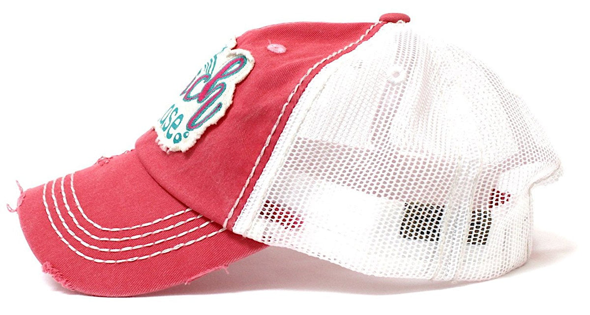 CAPS 'N VINTAGE Women's Beach Please Patch Embroidery Mesh Back Baseball Hat-Pink - Caps 'N Vintage