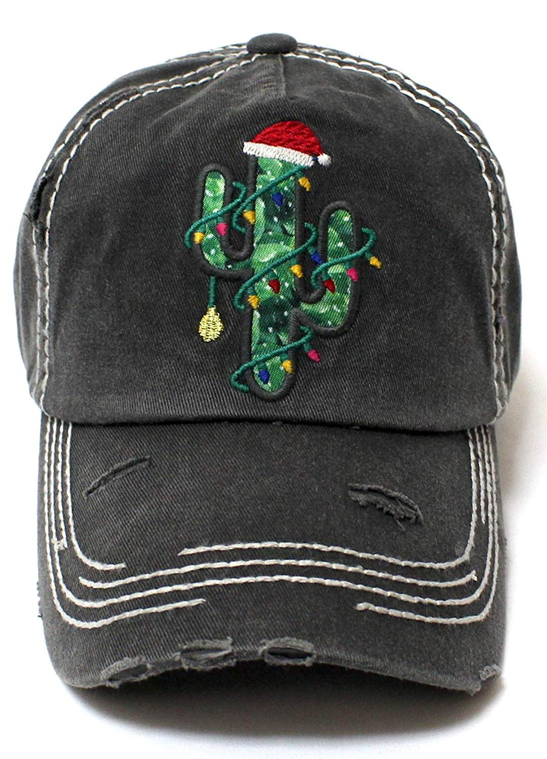 CAPS 'N VINTAGE Women's Santa Hat, Christmas Tree Cactus Embroidery Hat - Caps 'N Vintage
