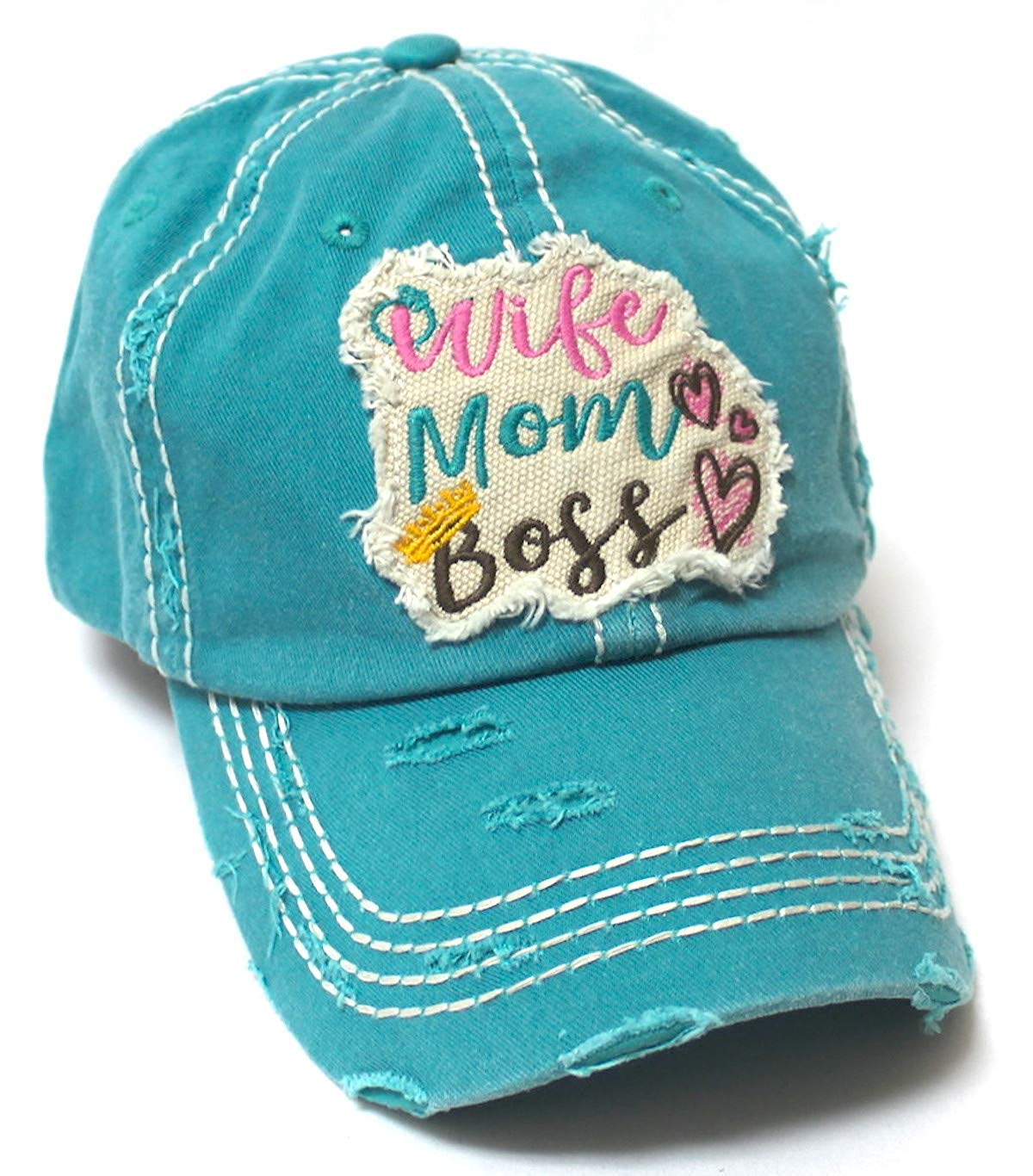 Women's Ballcap Wife, Mom, Boss Patch Embroidery Vintage Hat, Jewel Turquoise - Caps 'N Vintage