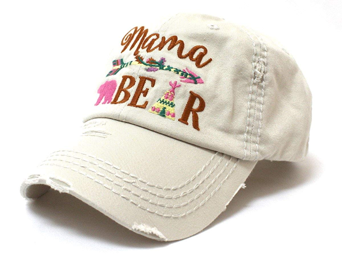 Stone Native Mama Bear Embroidery Cap - Caps 'N Vintage