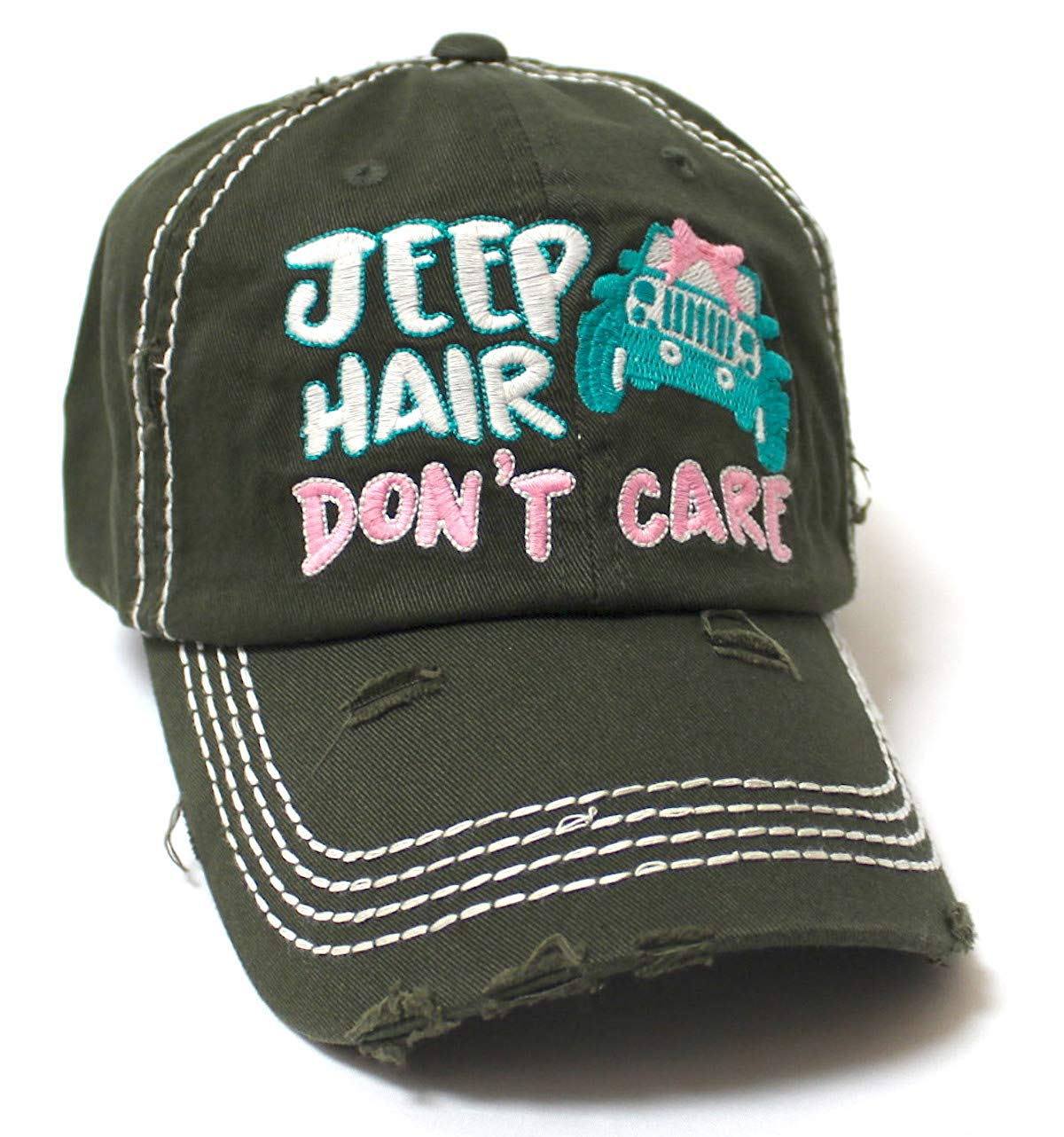 Ladies Bow-Tie Jeep Hair Don't Care Monogram Cheer Baseball Hat, Dark Olive - Caps 'N Vintage