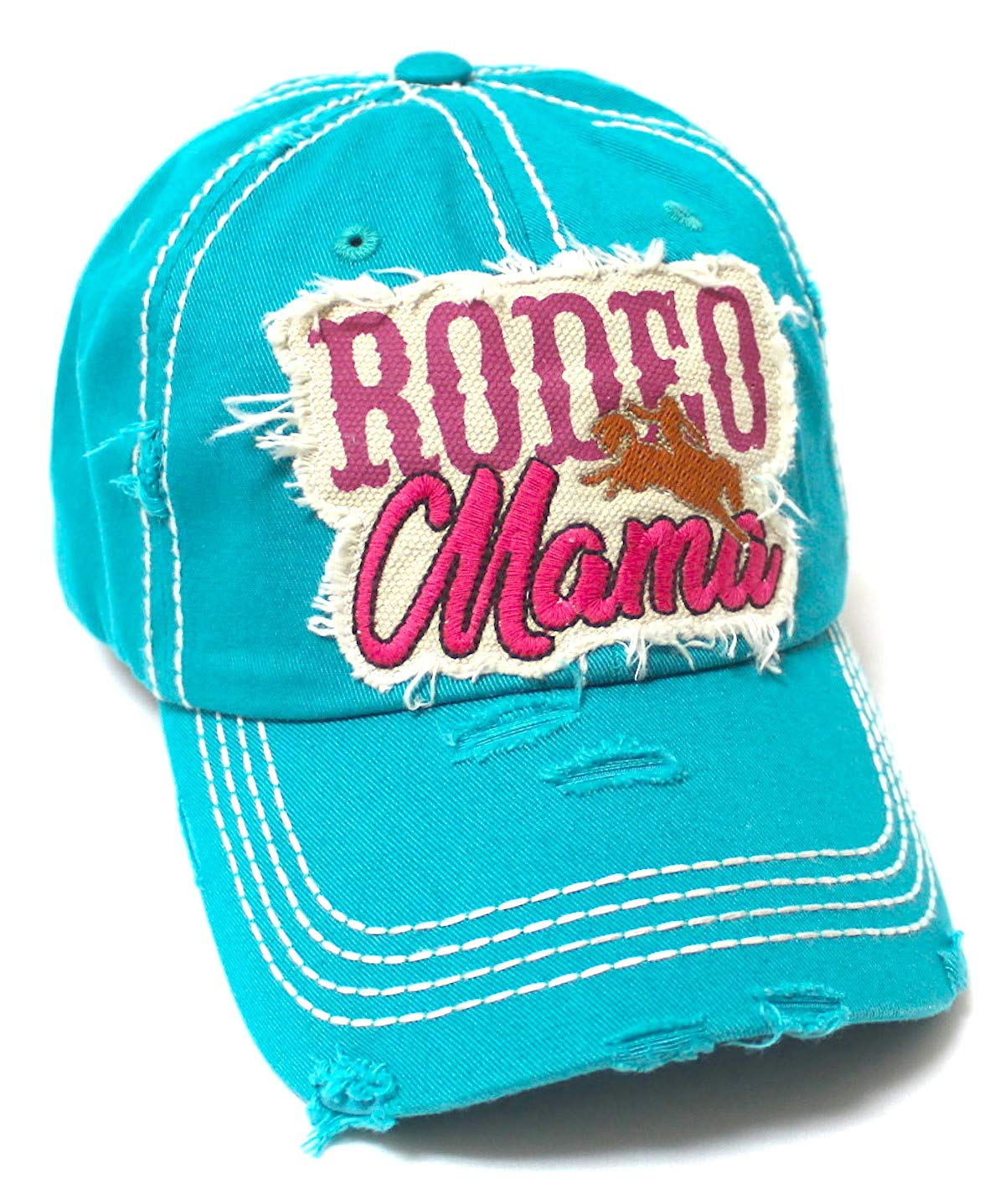 Classic Country Western Ballcap Rodeo Mama Monogram Patch Embroidery Adjustable Baseball Hat, Turquoise - Caps 'N Vintage