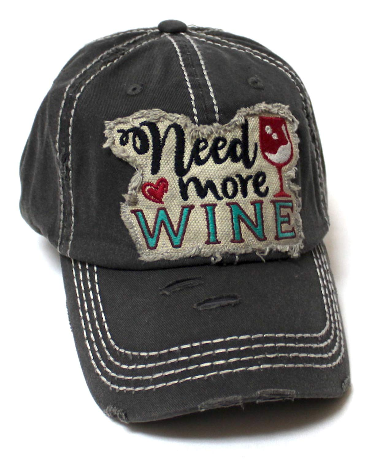 Women's Ballcap Need More Wine for The Love of Vino Patch Embroidery Hat, Vintage Black