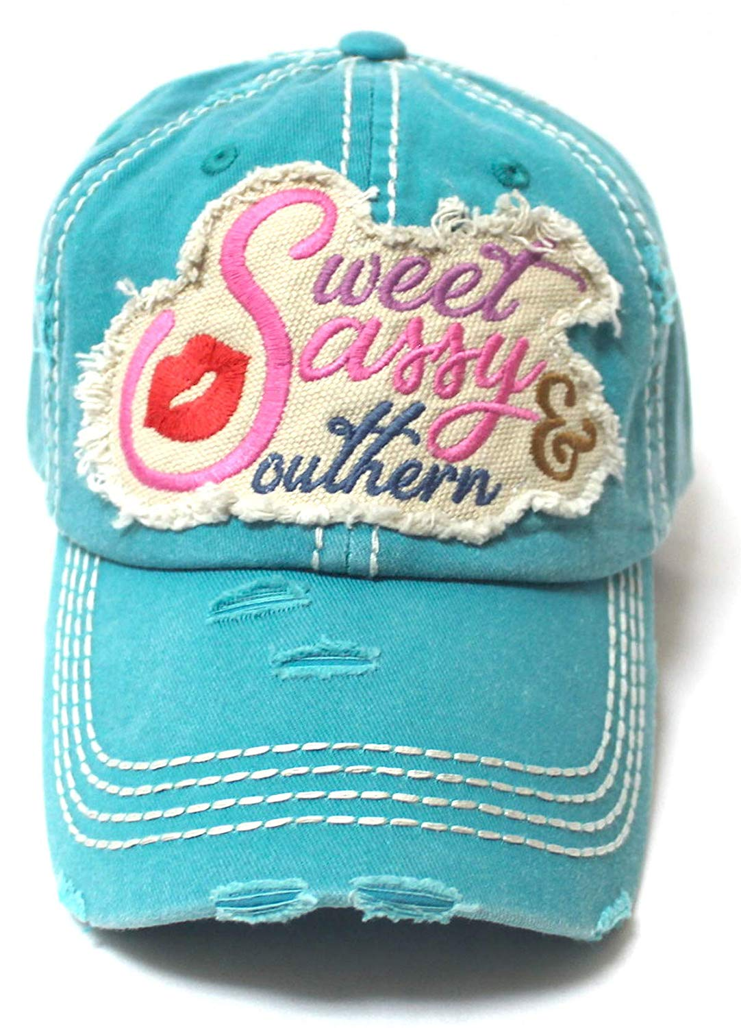 Women's Baseball Cap Sweet, Sassy & Southern Patch Embroidery Hat w/Red Kissy Lip Monogram, Turuoise - Caps 'N Vintage