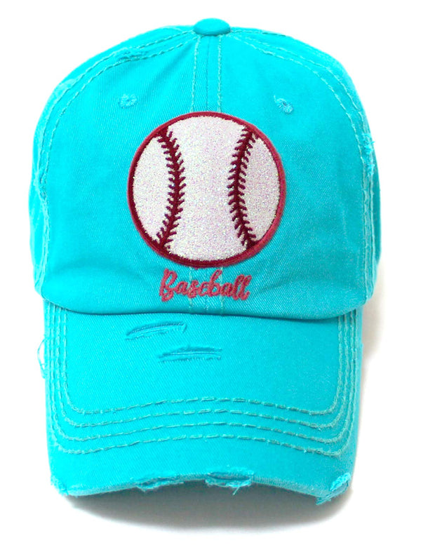 Distressed Baseball Hat Sparkle Ball Embroidery Baseball Monogram Vintage Hat, California Beach Blue - Caps 'N Vintage