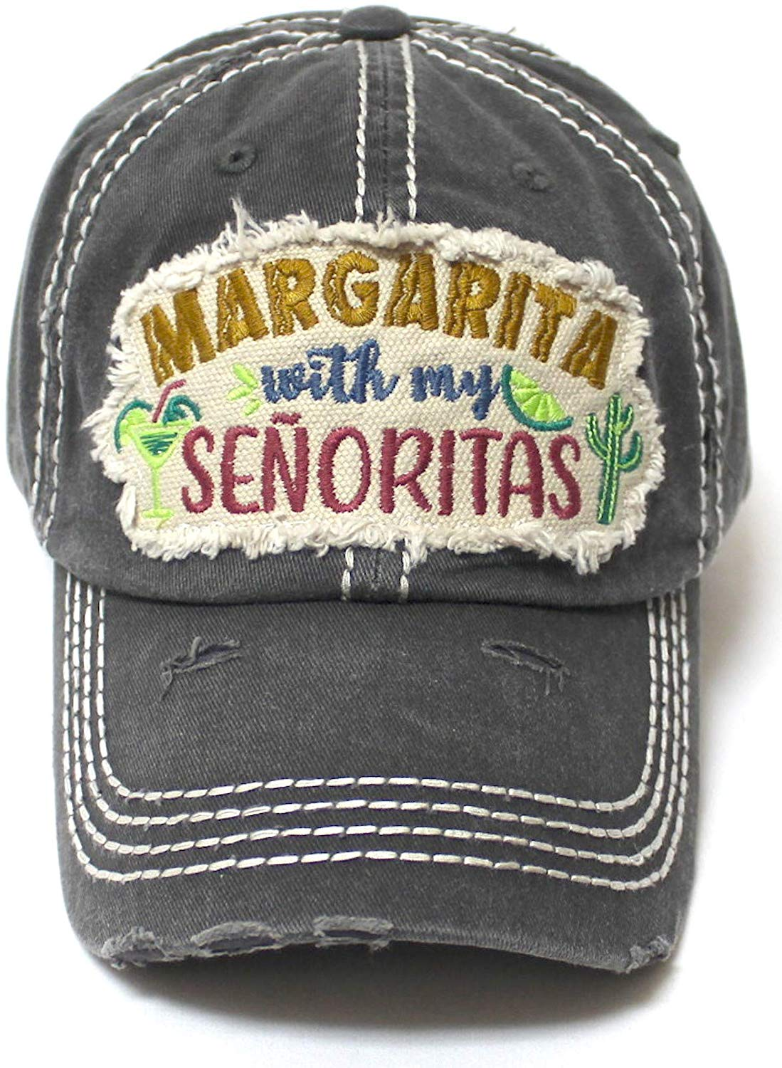 Women's Ballcap Margarita with My Senoritas Beach Themed Patch Embroidery Hat, Vintage Black - Caps 'N Vintage