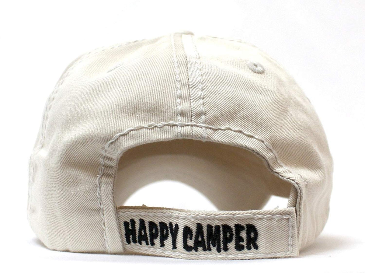 Stone Happy Camper Campfire & Log Patch Embroidery Cap - Caps 'N Vintage