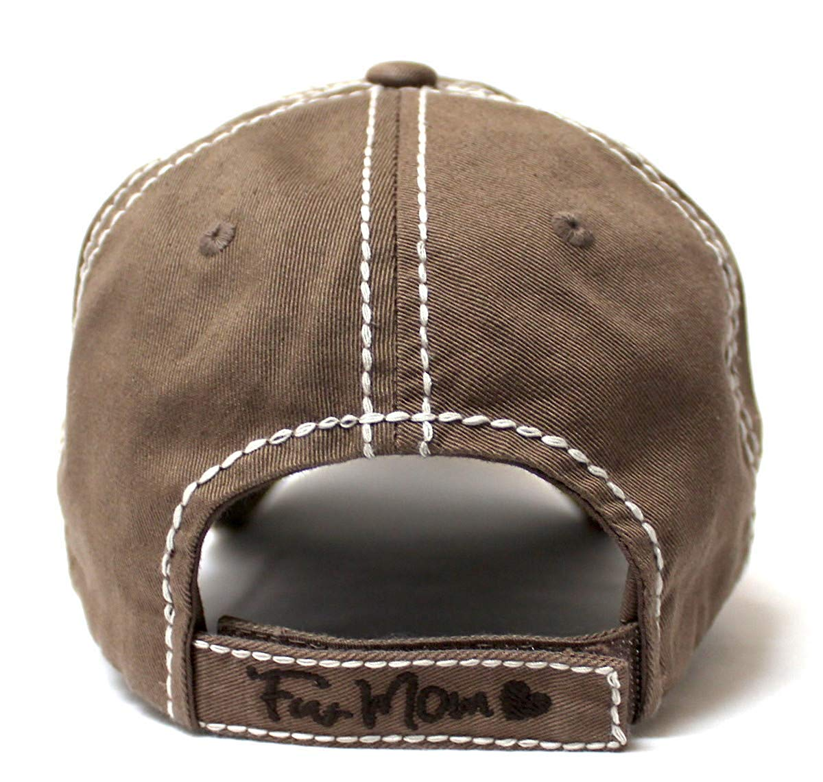 Women's Distressed Graphic Cap Fur Mom Fuzzy Dog Paw Embroidery, Chocolate - Caps 'N Vintage