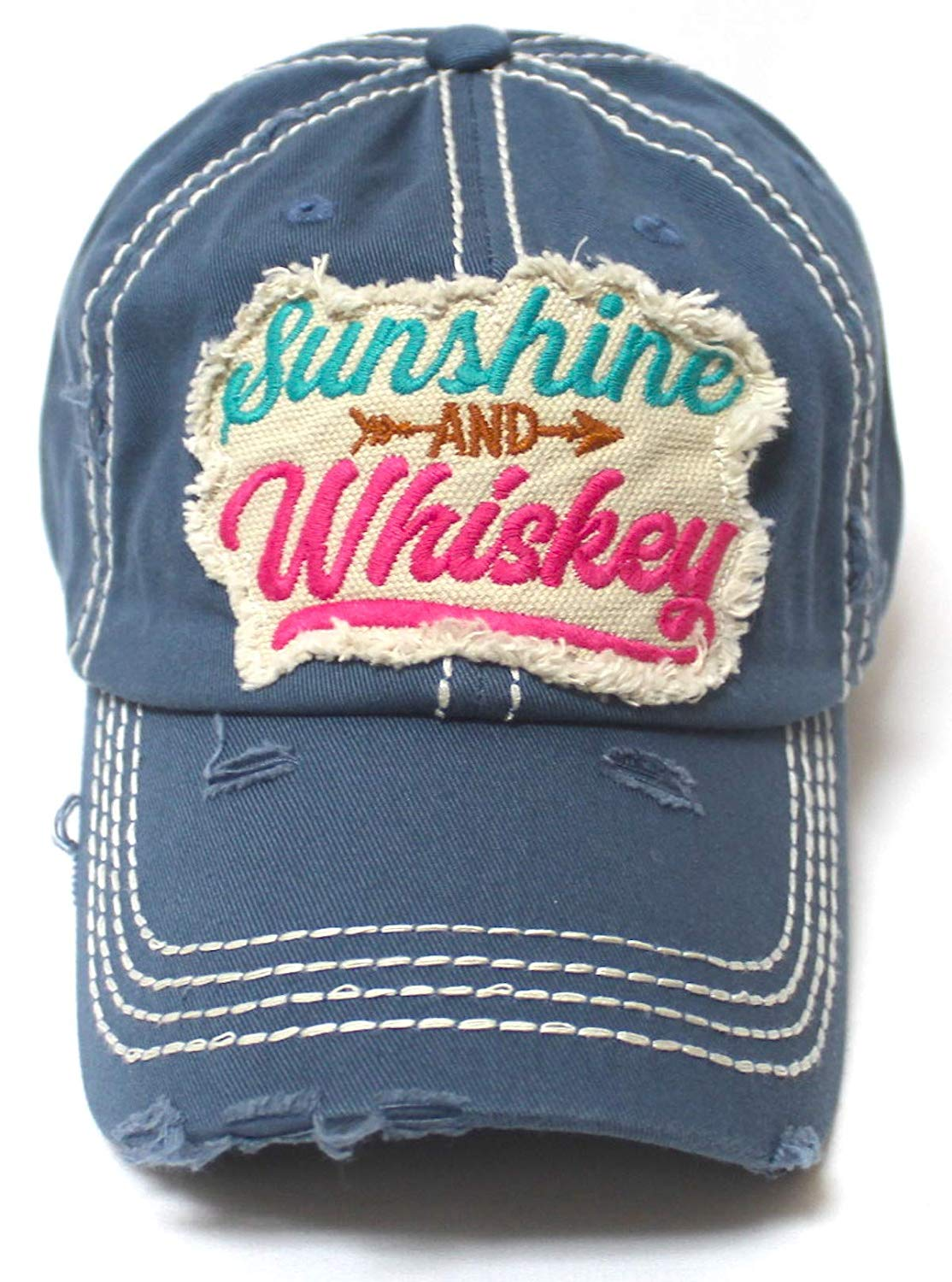 Women's Ballcap Sunshine and Whiskey Tribal Arrow Patch Embroidery Hat, Teal Blue - Caps 'N Vintage