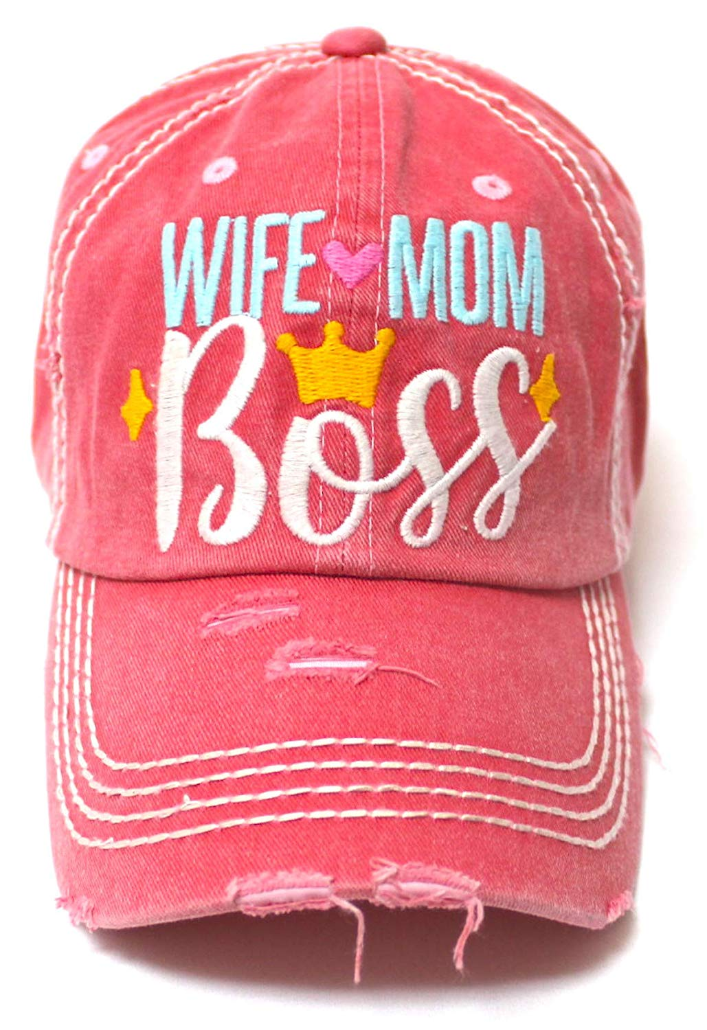 Women's Ballcap Wife Mom Boss Queen Crown Embroidery Hat, Pink Rose - Caps 'N Vintage