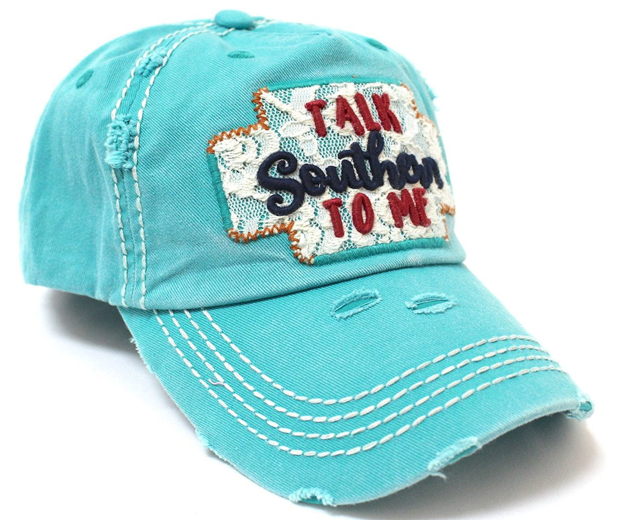 CAPS 'N VINTAGE Turquoise Distressed Talk Southern To Me Lace Embroidery Baseball Hat - Caps 'N Vintage