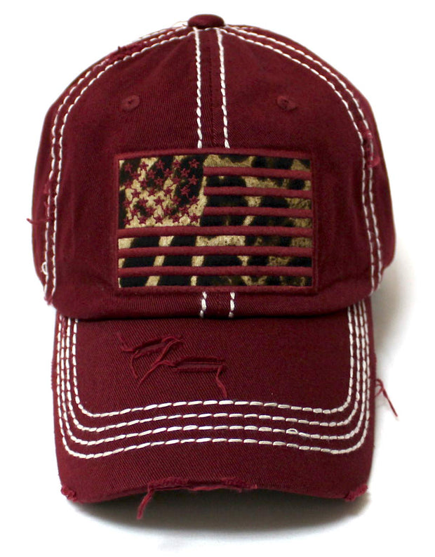 Women's Adjustable Baseball Cap Leopard Patch Embroidery American USA Flag Hat, Vintage Wine Burgundy