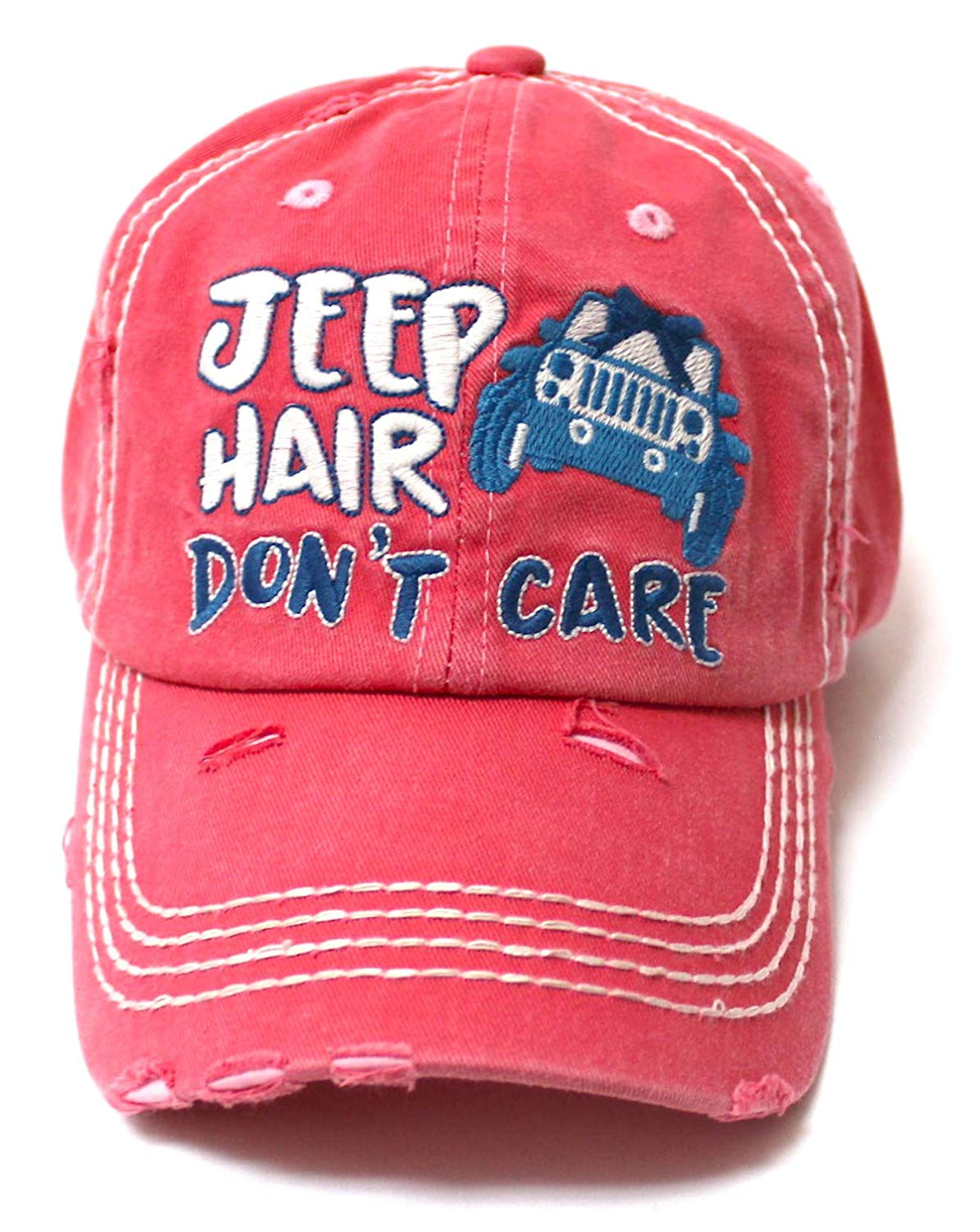 Ladies Bow-Tie Jeep Hair Don't Care Monogram Cheer Baseball Hat, Rose Pink - Caps 'N Vintage